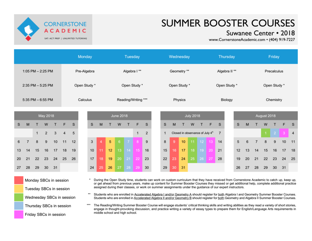 Suwanee Summer Booster Courses Schedule for Summer 2018