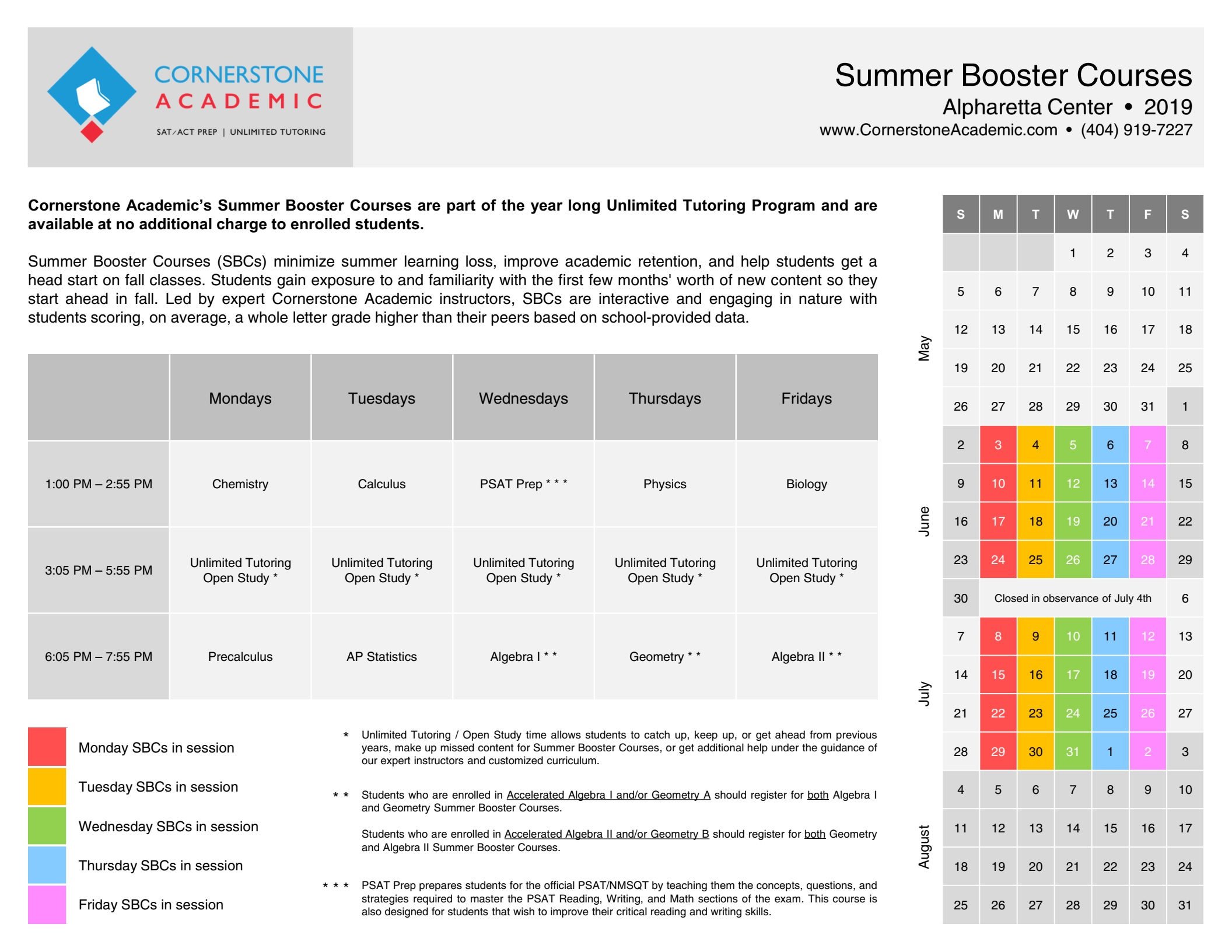 Summer 2019 Course Schedule Summer Booster Courses – Cornerstone Academic